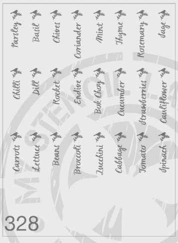 Herb & Vegetable Labels With Bird On A Branch - MSL 328 Stencil XLarge (sheet size 300 x 300mm)
