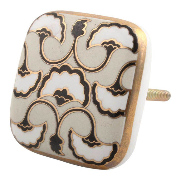 Black Sea Shell Square Ceramic Cabinet Knob