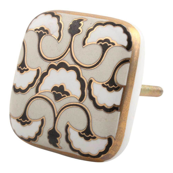 Black Sea Shell Square Ceramic Cabinet Knob Handles and Knobs