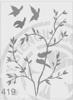 Birds On A Branch With Flying Birds - MSL 419 Stencil