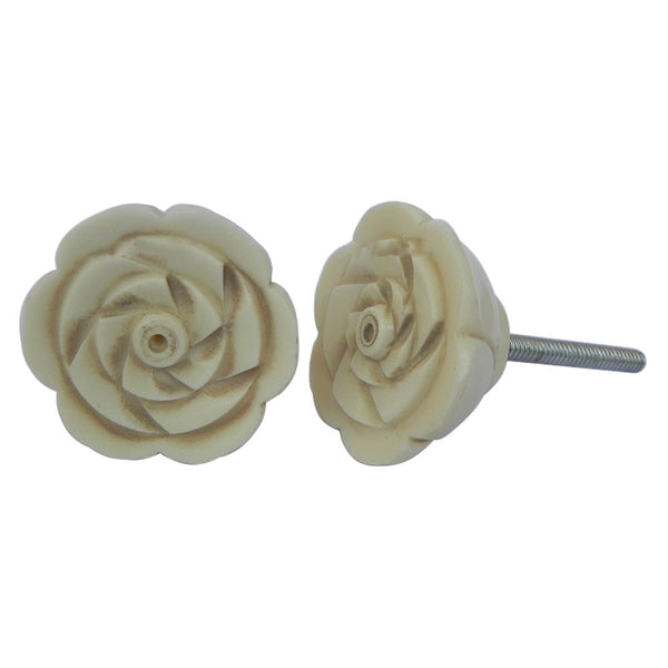 Cream Rose Bone Knob Handles and Knobs