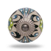 Round Ceramic Talid Knob with Antique Chrome Finish Handles and Knobs