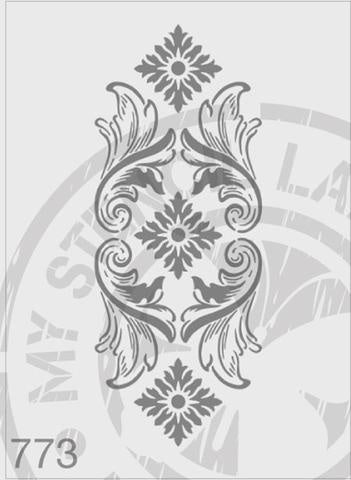 Flourish Panel - MSL 773 Stencil XXLarge (Sheet size 175 x 420mm),XXXLarge (sheet s