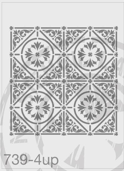 Tile Stencil - MSL 739 Stencil XLarge 4UP – 285mm Full cutout- Each Tile Space 14