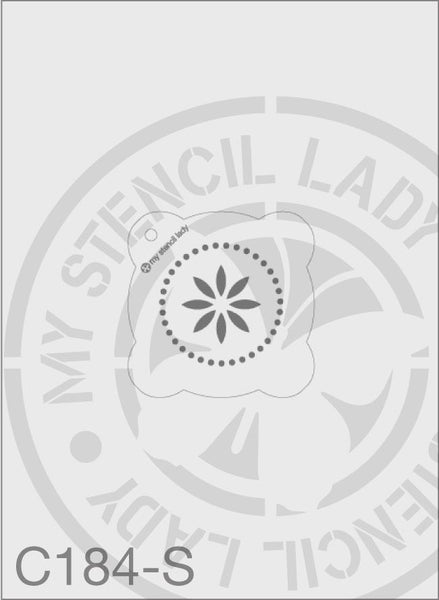 Star Flower With Dots - MSL C184 Stencil Small Round 65mm Max Design cutout (sheet size 95x