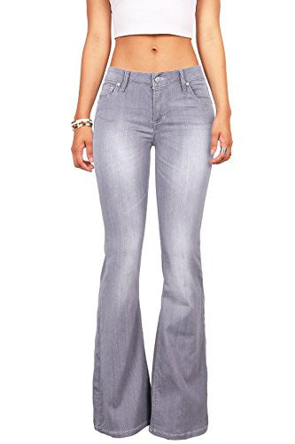 Celebrity Pink Women's Juniors High Waist Fitted Flare Bottom Jeans (5, Grey)