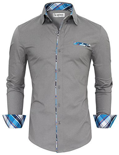 Tom's Ware Mens Premium Casual Inner Contrast Dress Shirt TWNMS310S-1-GRAY-S
