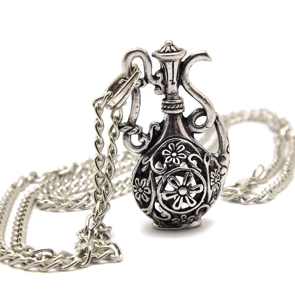 Antique Silver Color Hollow Bottle Pendant Chain
