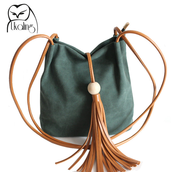 Women's Bucket Shoulder Handbag with Tassel
