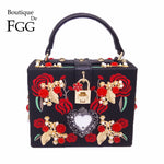 Embroidery Red Rose Beaded Fashion Shoulder Handbag