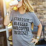 """Stressed Blessed And Coffee Obsessed"" Graphic Tee"