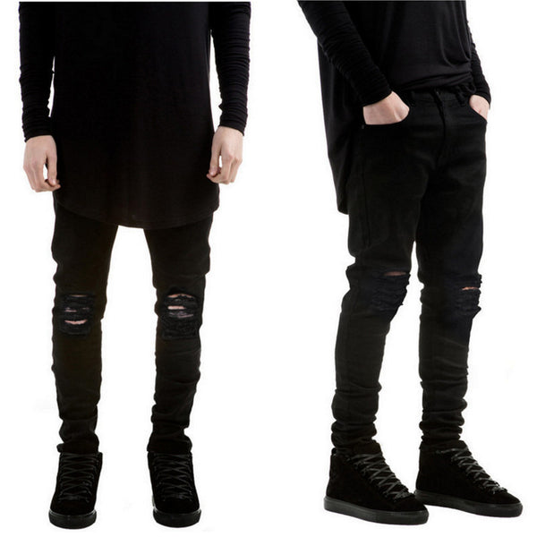 Black Ripped Men's Slim Fit Jeans