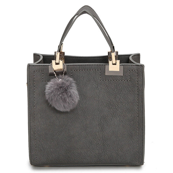 NEW HOT SALE Casual Leather Tote with Faux Fur Accessory