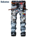 Men's fashion Patch Ripped Denim