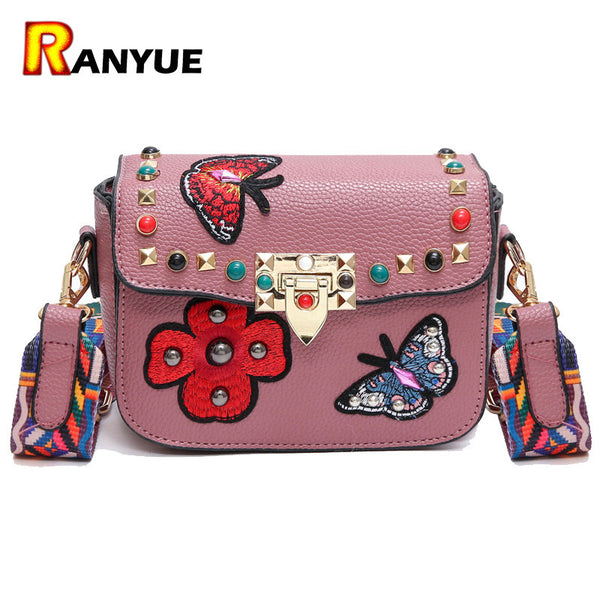 Rivet Butterfly Flower Embroidery Bag