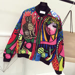 90s Style Embroidery Bomber Jacket