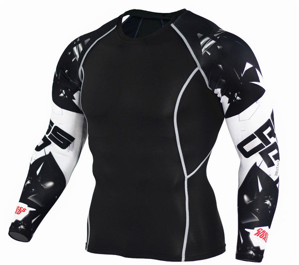 Mens Fitness 3D Prints Long Sleeves Compression T Shirt