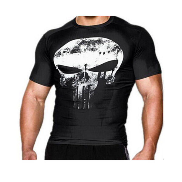 Mens Compression 3D Punisher Skull MMA Workout Crossfit T Shirt