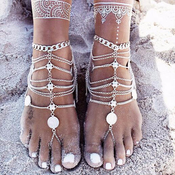 9ine Summer Coin Pendant Beach Jewelry Anklet