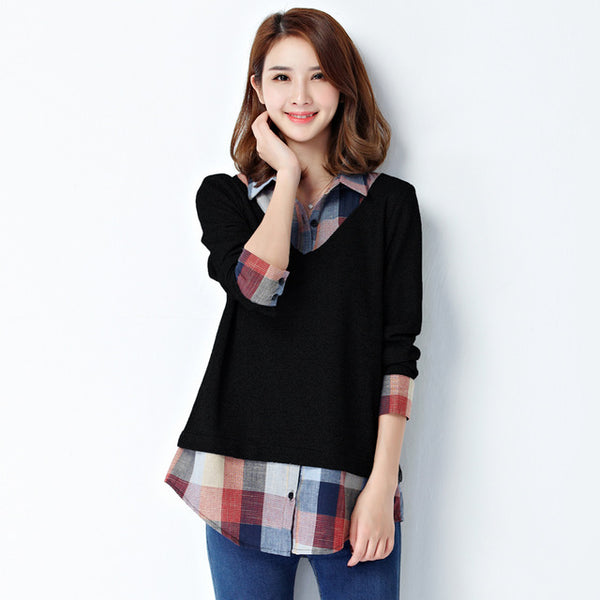 Long Sleeve Plaid Patchwork Sweater Top