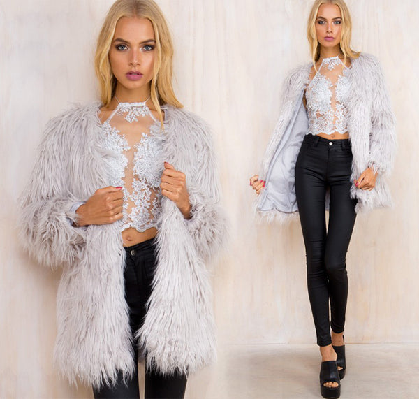 Fluffy Faux Fur Coat
