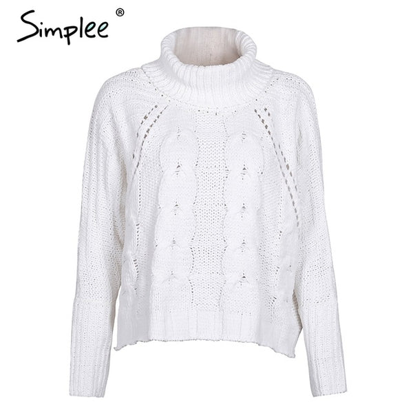 Simplee Turtleneck knitted pullover sweater Women hollow out soft jumper pull femme Autumn winter 2017 warm knitting sweater
