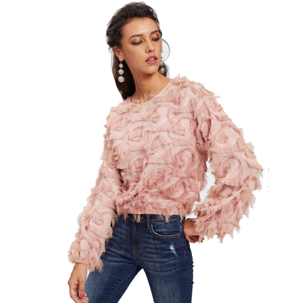 Pink Fringe Top Sexy