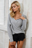 V neck Cross Knit Sweater (Multiple Colors)