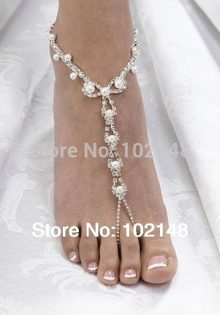 Rhinestone Barefoot Beach Anklet Jewelry with Pearls