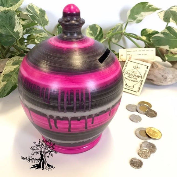 Terramundi Money Pot - Watercolor Purple/Black - Shop The Whispering Tree Inc - Grande Prairie, AB Canada. Make a wish! Fill it up! Smash the Pot! Handcrafted in Italy. Hand painted in Italy. Adult Piggybank! Money saver! Great gift idea for all occasions. Large selection of Terramundi Money Pots available.