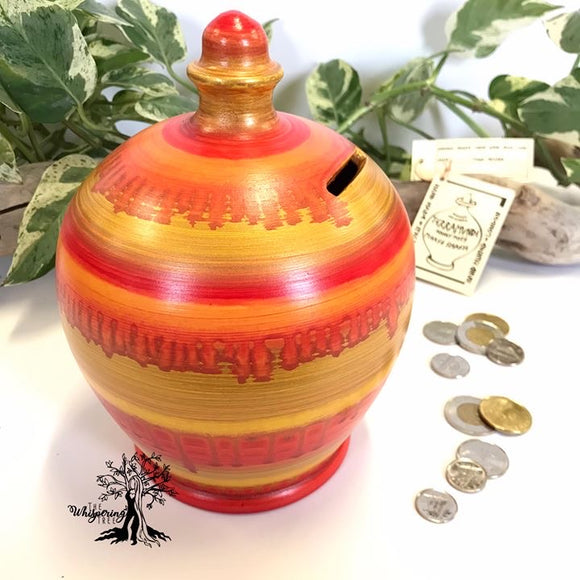 Terramundi Money Pot - Watercolor Autumn - Shop The Whispering Tree Inc - Grande Prairie, AB Canada. Make a wish! Fill it up! Smash the Pot! Handcrafted in Italy. Hand painted in Italy. Adult Piggybank! Money saver! Great gift idea for all occasions. Large selection of Terramundi Money Pots available.