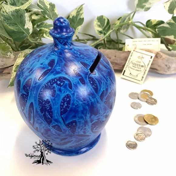 Terramundi Money Pot - Charmed Blue & Light Blue - Shop The Whispering Tree Inc - Grande Prairie, AB Canada. Make a wish! Fill it up! Smash the Pot! Handcrafted in Italy. Hand painted in Italy. Adult Piggybank! Money saver! Great gift idea for all occasions. Large selection of Terramundi Money Pots available.