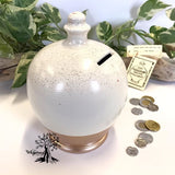 Terramundi Money Pot - Trio Stripe Rose Gold Glitter - Shop The Whispering Tree Inc - Grande Prairie, AB Canada. Make a wish! Fill it up! Smash the Pot! Handcrafted in Italy. Hand painted in Italy. Adult Piggybank! Money saver! Great gift idea for all occasions. Large selection of Terramundi Money Pots available.