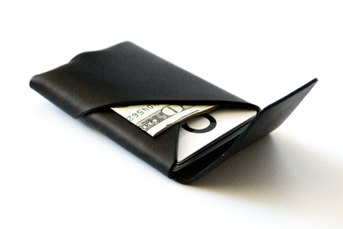 Oblique Wallet with Flap | Black,Wallets - Botton Studio