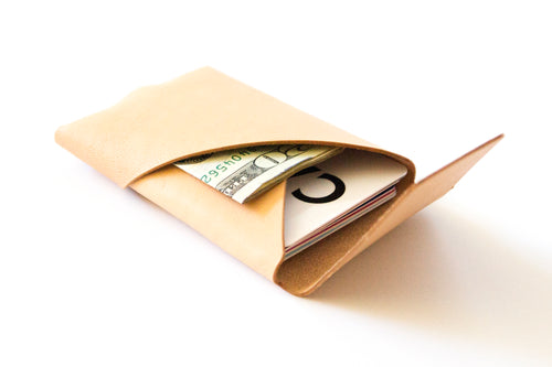 Oblique Wallet with Flap | Natural Veg Tan,Wallets - Botton Studio