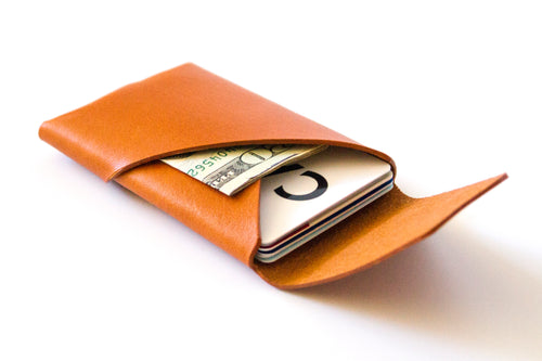 Oblique Wallet with Flap | Tan,Wallets - Botton Studio