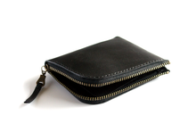 Half Zip Wallet | Black with Antique Brass Zip,Wallets - Botton Studio