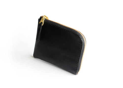 Half Zip Wallet | Black with Gold Zip,Wallets - Botton Studio