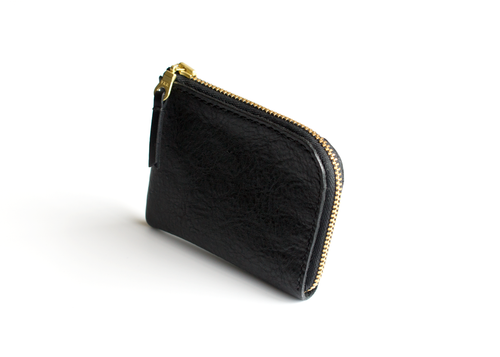 Half Zip Wallet | Pebbled Black,Wallets - Botton Studio
