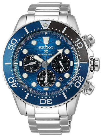 Seiko Special Edition Prospex Solar Chronograph Stainless Steel Blue Dial Divers Mens Watch SSC741P1