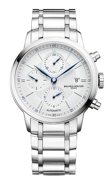 Baume & Mercier Classima Chronograph Stainless Steel Automatic Silver Dial Date Mens Watch M0A10331