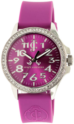 Juicy Couture Jetsetter Steel Analog Purple Dial Crystal Embedded Bezel Women's Watch 1900967