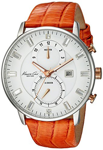 Kenneth Cole New York Women's Quartz Stainless Steel Case Genuine Leather Strap Orange,(Model:KC2710)