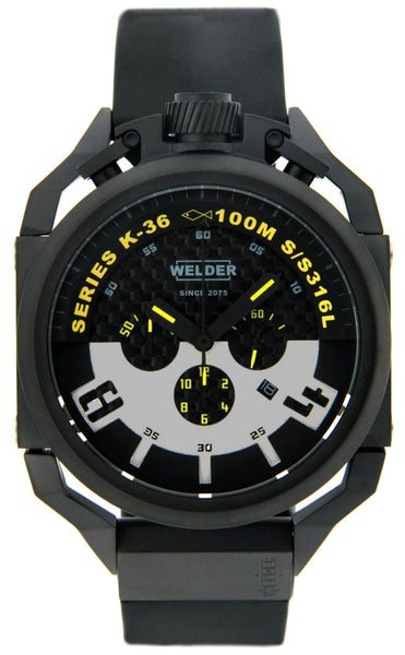 Welder by U-boat K36 Chronograph Black Ion-Plated Steel Mens Watch Rubber Strap K36-2402
