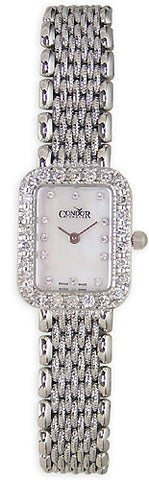 Condor 14kt Solid White Gold & Diamond Womens Luxury Swiss Watch MOP Dial 14k