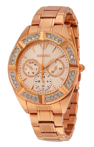 Seiko Rose Gold-Tone Stainless Steel Rose Dial Diamonds Date Quartz Womens Watch SKY680P1