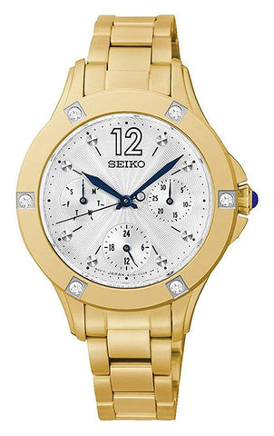 Seiko Yellow Gold-Tone Stainless Steel Silver Dial Diamonds Date Quartz Womens Watch SKY668P1