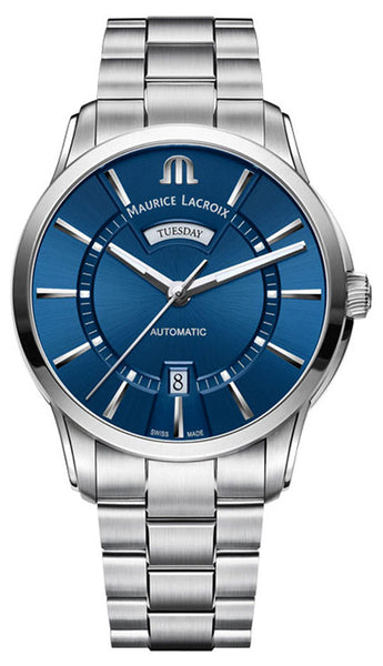 Maurice Lacroix Pontos Stainless Steel Blue Dial Day-Date Automatic Mens Watch PT6358-SS002-430-1