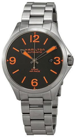 Hamilton Khaki Aviation Air Race Automatic Stainless Steel Black and Orange Dial Date Men's Watch H76535131