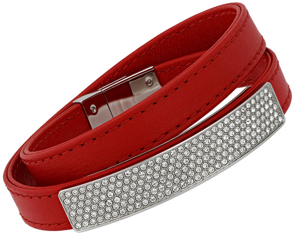 Swarovski Vio Red Leather 5120644 Stainless Steel Plaque Clear Crystal Bracelet for Women